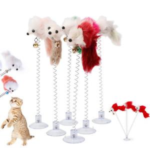 Lustige Swing Frühling Mäuse mit Saugnapf Pelzige Katze Spielzeug Bunte Feder Tails Maus Spielzeug Für Katzen Kleine niedliche Haustierspielzeug Sn5036