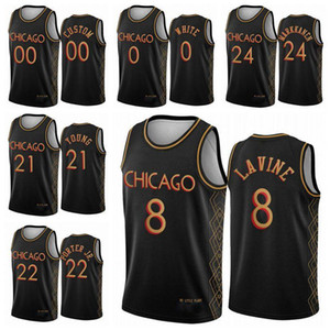 Chicagomen Kinder Lauri Markkanen Zach Zach Lavin Coby White 2020/21 Swingman Cityyouth Basketball Jersey Black Edition S-2XL