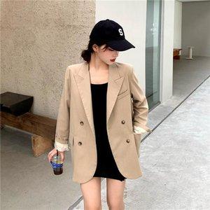 Snordic Женщины Осень Осень Хаки Офис Леди Пиджак Куртка Пальто Полный Рукав Двухбортный Свободный Верхний с карманом