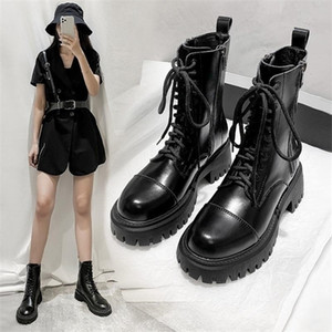 Luxury Women Combat 2021 Gothic Hot Chunky Martin Shoes Zipper Fashion Platform Ankle Boots Thick Heels Brand Designers