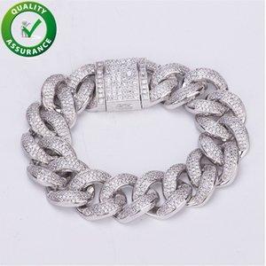 Luxury Designer Bracelet Hip Hop Jewelry Men Iced Out Bracelets Diamond Chain Bangle Cuban Link Hiphop Bling Charm Friendship Love 19MM 20CM