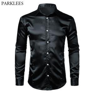 Silk Satin Shirt Men Brand Shiny Smooth Mens Dress Shirts Casual Black Tuxedo Wedding Chemise Homme Slim Fit Solid Color Camisa