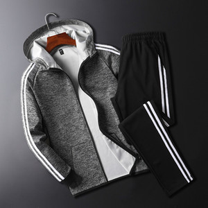 Mens Tracksuits Side Stripe Track Suit Casual Sports Mens Outdoor Running Clothes Two-piece Jackets Pants Hooded Tracksuit Large Size M-4XL