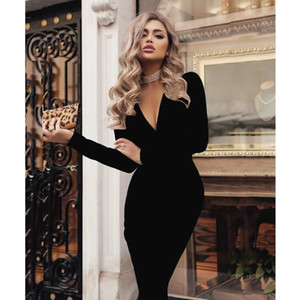 Plus Size Women Bandage Bodycon Dress Office Lady Ol Clothes Summer Long Sleeve V Neck Sexy Party Cocktail Short Dress Z1202