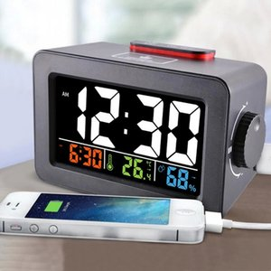 Gift Idea Bedside Wake Up Digital Alarm Clock with Thermometer Hygrometer Humidity Temperature Table Desk Clock Phone Charger #yP10