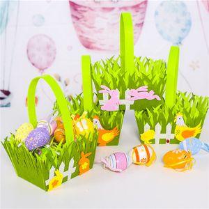 Easter Cock Bunny Basket Coloful Egg Cartoon Non-woven Bag Kids Gifts Rabbit Bucket Candy Storage Basket Handbag Put Easter Egg G12004