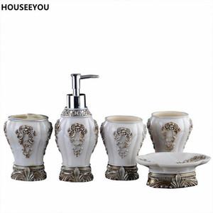 European Resin Bathroom Accessories Set Bathroom Sanitary Ware Bath Set Toothbrushes Cup Holder Soap Dish Wedding Gifts 5pcs set
