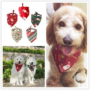 7 Designs Christmas Pet Scarf Dog Cat Triangular Binder Bandana Cartoon Xmas Prints Dog Neckerchief Pets Mouth Saliva Towel Bib Dog Apparel