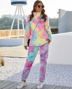 Rainbow Tie Dye Felpe con cappuccio Felpe Donna Autunno Inverno Pantaloni Pantaloni Pantaloni in pile Cappotti e Giacche Femminili Fumorizzazione Faux Pelliccia di pelliccia oversize