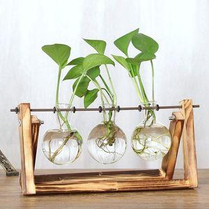 Vintage Creative Hydroponic Plant Transparent Vase Wooden Frame Coffee Shop Room Glass Tabletop Plant Bonsai Home Decor Flower Vase