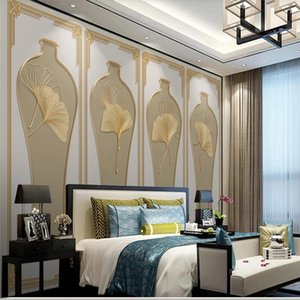 customized wallpaper for walls leaf vase golden wallpapers embossed line background wall 3d stereoscopic wallpaper