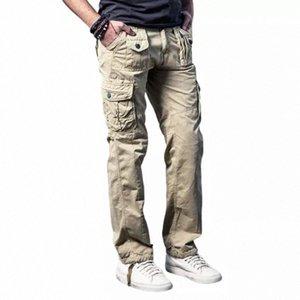 Mens Cargo Pants 군사 카키 통기성 대형 멀티 포켓 긴 바지 스플 라이스 솔리드 Pantalon Homme 바지 남성 주머니 # A60W