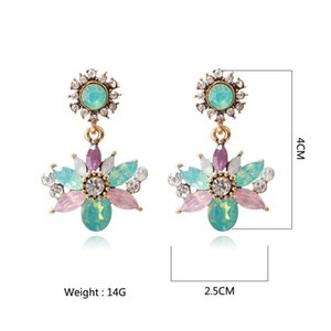 New Hot Fashion Green Pink Color Crystal For Women Trend Wedding Jewelry Dangle Drop Ethnic Statement Earrings