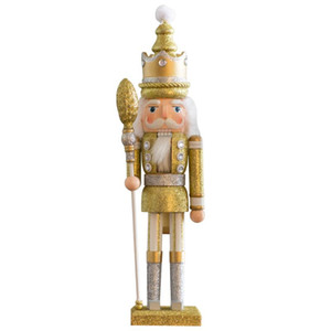 Christmas Decorations 2021 New Year Home Decor Big Wood Nutcrackers King Puppet Gold White Silver Color 42cm