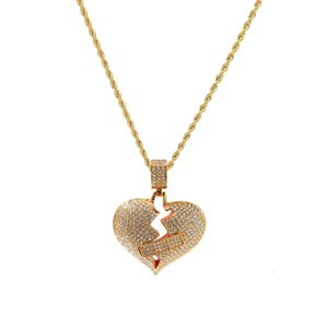 Mens Hip Hop Iced Out Pendant Fashion Broken Heart Bandage Necklace Jewelry