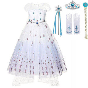 Season 2 Costume Princess Girls Snow Queen Dress 2 3 4 5 7 8 10Y Kids Halloween Disguise Child Halloween Party Clothes