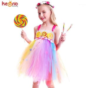 Pom Pom Design Sweet Candy Lollipop Girls Tutu Dress Dress Rainbow Fairy Summer Vestido Niños Cumpleaños Foto Traje Traje 1