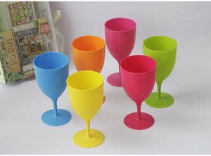 350ML Plastic Beer Cup Wine Glass Cola Cups Pint Glass Beer Mugs Stemless Wine Tumbler 6 pcs pack Colorful Frosted PP Goblet