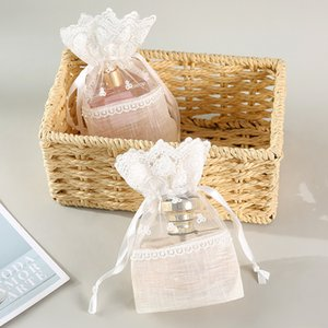 White Organza Jewelry Storage Bags Butterfly Flower Yarn Drawstring Pouches Wedding Candy Party Gift Small Bags