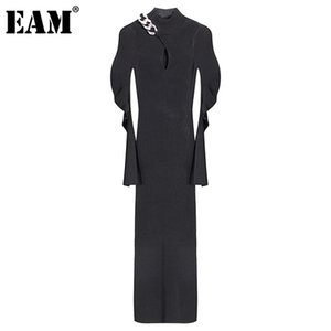 [EAM] Women Metal Chain Hollow Out Long Knitting Dress New Turtleneck Long Sleeve Loose Fit Fashion Spring Autumn 2020 1DC787 A1111