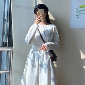 Little Mature Lady Noir Blanc A Ligne Robe Midi Automne À Manches longue Manches Longues Design Robe Vestido