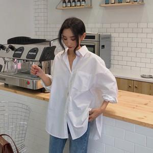 Beiyingni 2020 Spring Autumn Women T-shirts White Plain Loose Oversized Blouses Female Tops Loose BF Korean Style Blusas Pocket