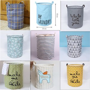 Portable Folding Laundry Basket Round Storage Bin Bag Large Hamper Clothes Toy Holder Bucket Clothes Organizer Home Decoration Z1202