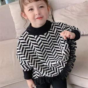 2021 Girl Casual Sweater Children's Knitted Round Neck Autumn Winter Kids Cute Cloak Keep Warm Thicken Houndstooth High Quality