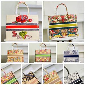 5A 2021 Qualidade Top Qualidade Bordada Luxo Mulheres Classic Livro Colorido Totes Bag Designer Bolsa Bolsa Grande Capacidade de Viagem Canvas Sacos de Compras