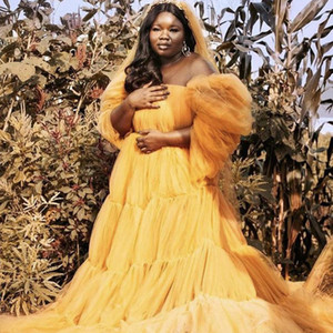 Cheap Yellow Illusion Maternity Tulle Photo Shoot Robe Pregnant Woman Tiered Ruffles Dress Bridal Party Birthday Gowns