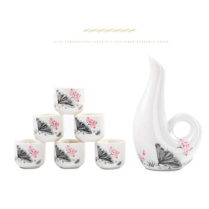 Chinese Sake Set, 6 Pieces Sake Set Hand Painted Design Porcelain Pottery Traditional Ceramic Cups Crafts Wine Glasses jllGau