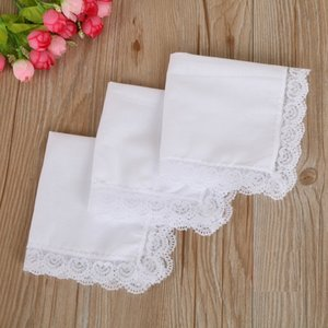Christmas gift White Lace Thin Handkerchief Woman Wedding Gifts Party Decoration Cloth Napkins Plain Blank DIY Handkerchief 25*25cm GWD3305