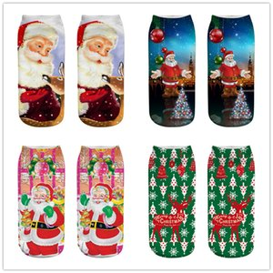 1Pairs big children 3D Unisex Cartoon Elk Snowman Santa Low Cut Ankle printed Christmas Socks