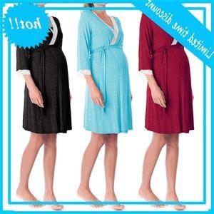 Dames Maternité Coton Robes douces Col V Trois Quartes Mouw Effen Color Plus Maten Robe en vrac Casual Summer Nouveau