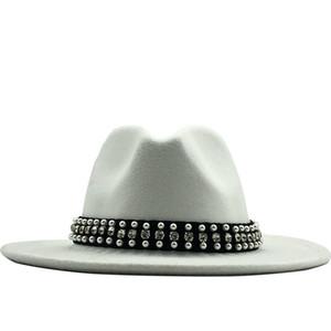 Hot Men Women Wide Brim Wool Felt Fedora Panama Hat with Belt Buckle Jazz Trilby Cap Party Formal Top Hat In Pink,white
