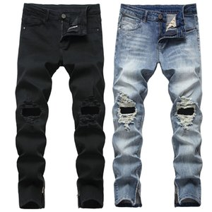 Mens Ripped Jeans Autumn Spring Fashion Hip Hop Destroyed Trendy Hole Zipper Straight Denim Trousers 28-40