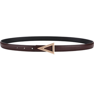 Luxury Genuine Leather Thin Triangle Belts For Women Dress Party Cowhide Knot Belt Gold Alloy Buckle Waistband Jeans Female Gift jllwDj