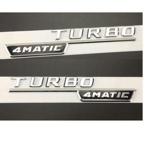 "Chrome "" TURBO 4MATIC "" Plastic Car Trunk Fender Letters Badge Emblem Emblems Decal Sticker for Mercedes Benz AMG 17-19"