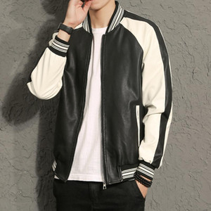 2020 Autumn And Winter Men Jacket Collar Color Matching Men'S Leather Jacket Leather Youth Large Size Mens