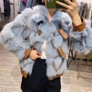 Brand Luxury Winter Jacket Women Real Fur Coat Natural Fox Fur Thick Warm Moto Biker Outerwear Streetwear Genuine Leather 201214