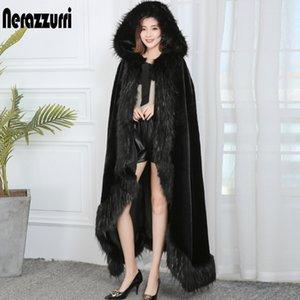 С капюшоном Nerazzurri Black Vintage Женщины Свободные Негабаритные Длинные Кейп-Пальто с Faux Fox Измельшись Глубочный Теплый Плащ M2PV