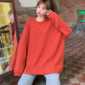 Autumn And Winter Women's Clothing New Tops Solid Color Casual Students Plus Velvet Loose Round Neck Sweater n