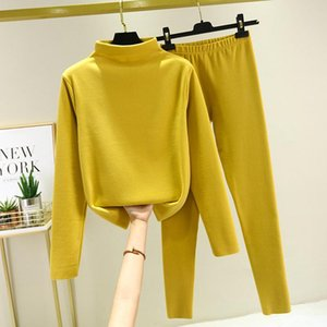 Tracksuit Women Newest Winter Two Piece Set Knit Sport Suits Thick Warm Turtleneck Women Top + Drawstring Harem Pants Outfits
