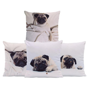 Pug Dog Cushions White And Black Pillow Case Animal Rustic Settee Lumbar Support Throw Pillow Cover 17.7Inch Velvet