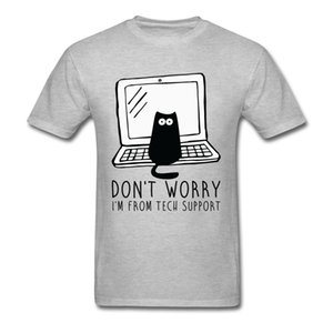 Computer Programs Cat Printed T-Shirt Tech Support 3D Funny Cats Tshirt Latest Cotton Tshirts Cat Software Programming Men Y1119