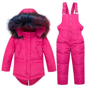 Winter Kids Snowsuit Jackets Hoodies Duck Down Ski Suit For Girls Snow Suit Outfits Snow Wear Jumpsuit Sets Coat Snowsuit 201127