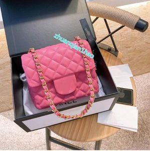 Le meilleur nouveau CC Lettre de luxe design de luxe dame de mode sac à main sacs de sacs de badge CF Badge Sacs Chaîne Diamant Channel Channel Sacs à bandoulière Rose