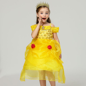 New Princess Dress Ball Gown Kids Yellow Flower Embroidery Dress For Girls Vintage Children Dresses For Wedding Party