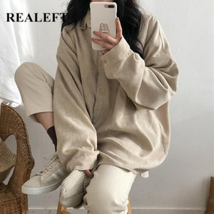 REALEFT Autumn Winter 2020 New Corduroy Women's Blouse Tops Turn-down Collar Solid Korean Style Long Loose Female Chic Shirts