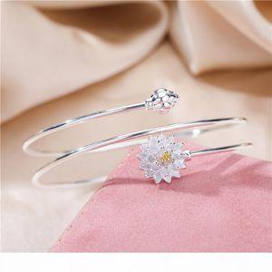 Japan and South Korea smooth S925 pure silver lotus Bracelet women's sense of literature and art lotus Bracelet opening multi Circle Br